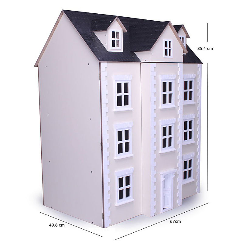 Three Storey Cream Georgian Townhouse Dolls House Kit