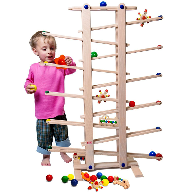 Trihorse One Metre High Wooden Marble Run for children 1 year