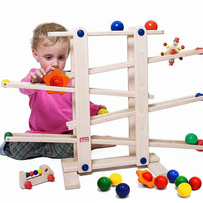 Trihorse wooden marble run for baby and children from 1 year old