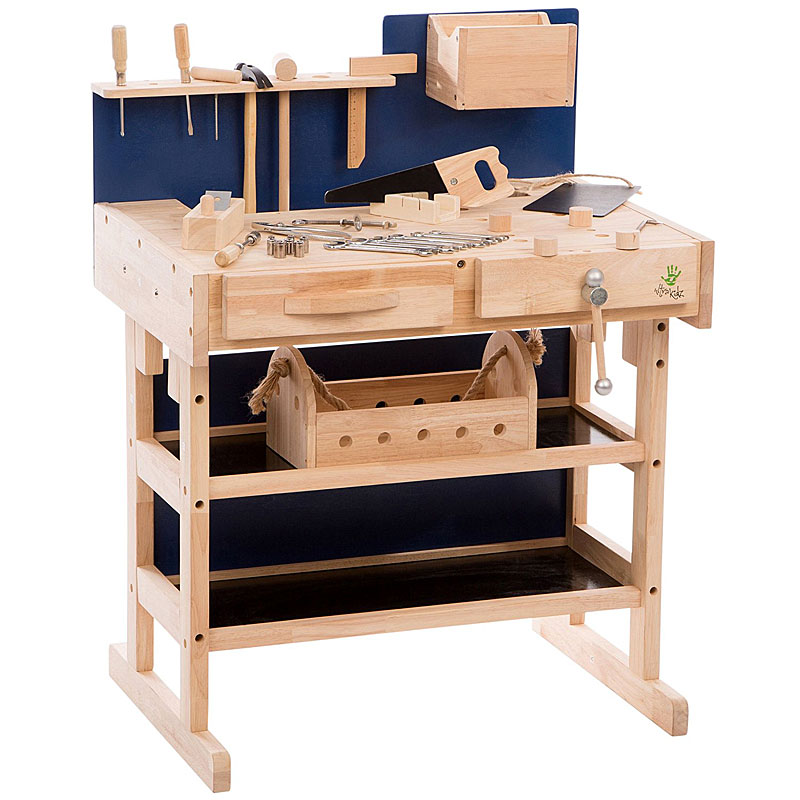 Ultrakidz Children's Workbench made of Solid Wood with Tool Set