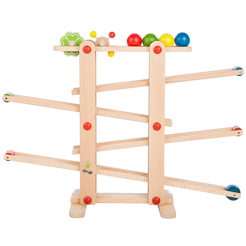 Ultrakidz Natural Wood Marble Run with 4 balls and rolling toys