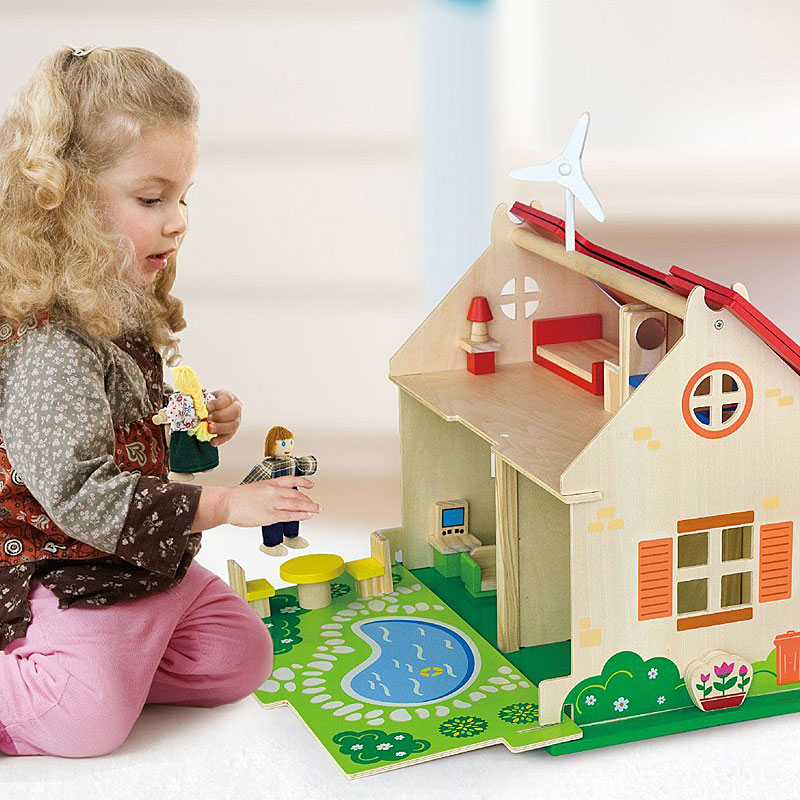 Viga Eco Friendly Wooden Dolls House & Furniture Set
