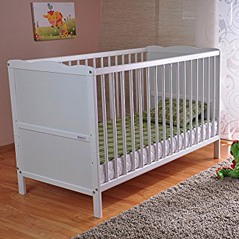 Extreme White Solid Wood Baby Cot Bed & Deluxe Foam Mattress