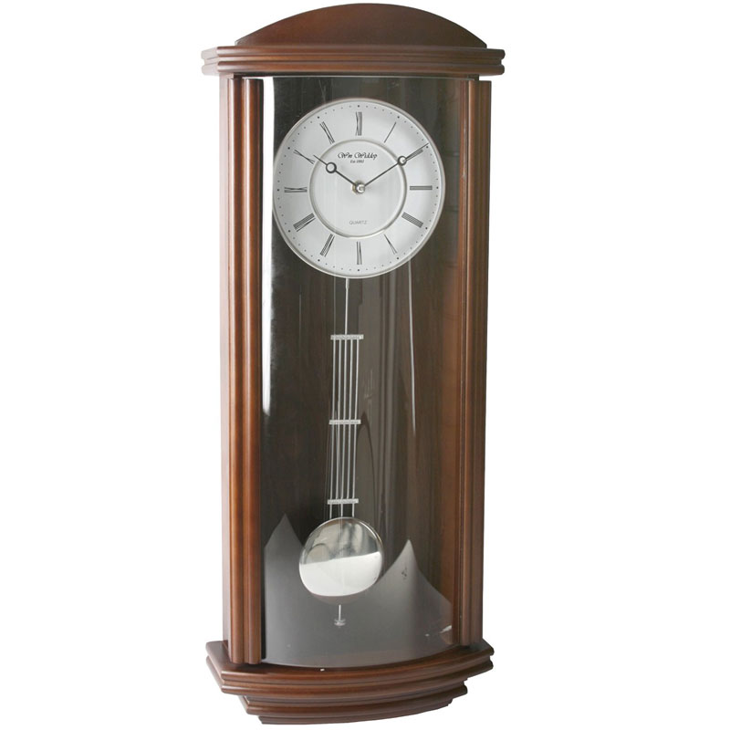 Wm.Widdop Pendulum Wooden/Glass Wall Clock Roman Dial