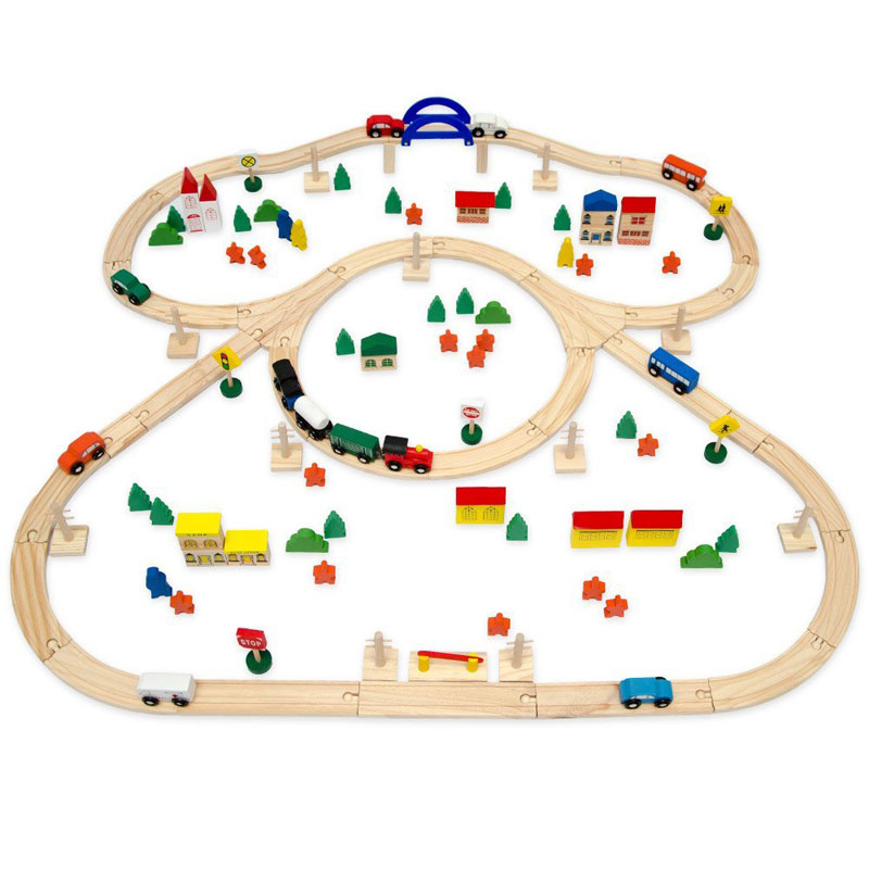 12075, Wooden Train Set, 130 Pieces