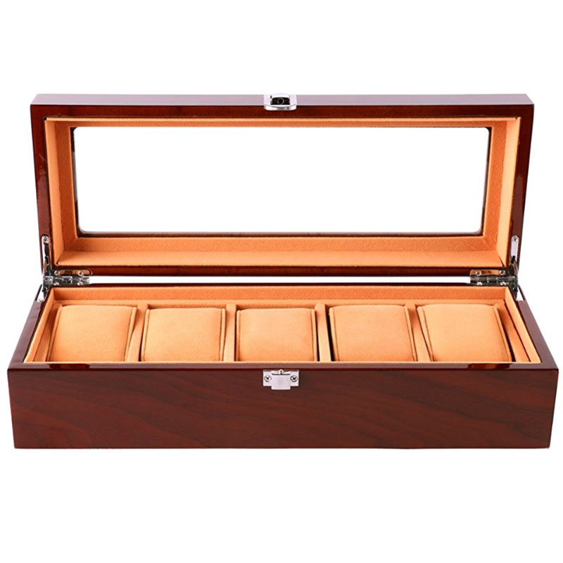 Watch Box Wooden 5 Slots Watch Case Jewellery Display Box